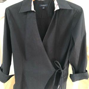 Burberry black wrap blouse Collar tartan XL